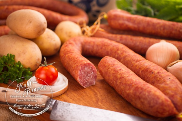 Kartoffelwurst im Ring geräuchert